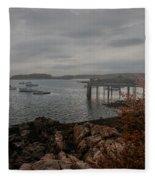 Cape Porpoise Maine - Fog Rolls In Fleece Blanket