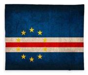Cape Verde Flag Vintage Distressed Finish Fleece Blanket