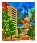 Capital - Jefferson City Missouri - Painting Fleece Blanket