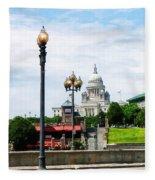 Capitol Building Seen From Waterplace Park Fleece Blanket