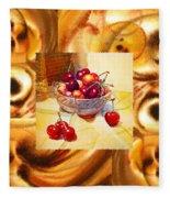 Cappuccino Abstract Collage Cherries Fleece Blanket