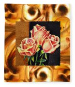 Cappuccino Abstract Collage French Roses Fleece Blanket