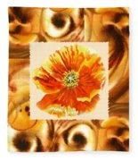 Cappuccino Abstract Collage Poppy Fleece Blanket