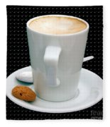 Cappuccino With An Amaretti Biscuit Fleece Blanket