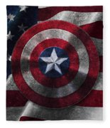 Captain America Shield On Usa Flag Fleece Blanket