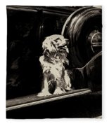 Car And Dog Fleece Blanket
