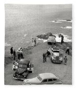 Car Over Edge On Highway One  Big Sur  California    March 27 1947 Fleece Blanket