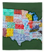 Car Tag Number Plate Art Usa On Green Fleece Blanket