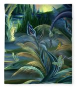 Card Design For Insects Of Enchanted Stream Fleece Blanket
