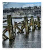Cardiff Bay Old Jetty Supports Fleece Blanket