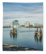 Cardiff Bay Towards St Davids Hotel Long Exposure Fleece Blanket