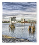 Cardiff Bay Towards St Davids Hotel Fleece Blanket