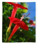 Cardinal Climber Flowers Fleece Blanket