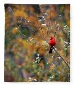 Cardinal In Autumn Fleece Blanket