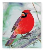Cardinal In Ice Tree Fleece Blanket