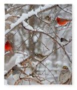 Cardinal Meeting In The Snow Fleece Blanket