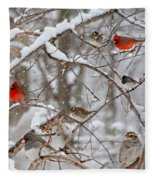 Cardinal Meeting In The Snow Fleece Blanket