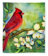 Cardinal On Dogwood Fleece Blanket