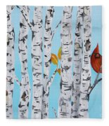 Cardinals Among The Birch-e Fleece Blanket