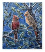 Cardinals And Holly Fleece Blanket