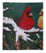 Cardinals In The Snow Fleece Blanket