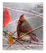 Cardinals - Male And Female - Img_003card Fleece Blanket