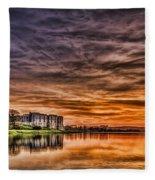Carew Castle Sunset 2 Fleece Blanket