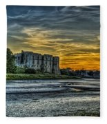Carew Castle Sunset 3 Fleece Blanket