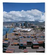 Cargo Containers At A Harbor, Honolulu Fleece Blanket