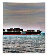 Cargo Ship Near Chesapeake Bay Bridge Tunnel Fleece Blanket