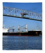 Cargo Ship Under Bridge Fleece Blanket