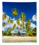 Caribbean Beach Shack Fleece Blanket