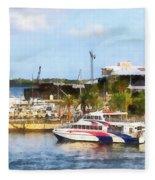 Caribbean - Dock At King's Wharf Bermuda Fleece Blanket