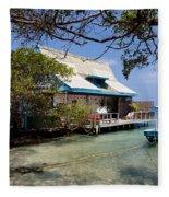 Caribbean House And Boat Fleece Blanket
