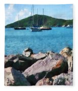 Caribbean - Rocky Shore St. Thomas Fleece Blanket