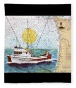 Carina Trawl Fishing Boat Nautical Chart Map Art Fleece Blanket