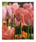 Caring Pink Tulip Time Fleece Blanket