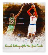 Carmelo Anthony Of The New York Knicks Fleece Blanket