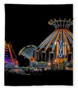 Carnival Rides At Night 04 Fleece Blanket