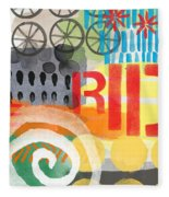 Carousel #6 Ride- Contemporary Abstract Art Fleece Blanket