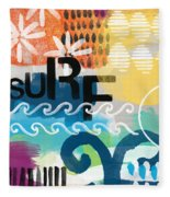 Carousel #7 Surf - Contemporary Abstract Art Fleece Blanket by Linda Woods