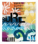 Carousel #7 Surf - Contemporary Abstract Art Fleece Blanket
