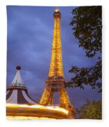 Carousel And Eiffel Tower Fleece Blanket