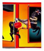 Carousel Horse Fireman 04 In Teal Fleece Blanket