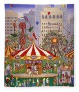 Carousel In City Park Fleece Blanket