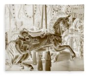 Carousel In Negative Sepia Fleece Blanket