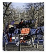 Carriage Driver - Central Park - Nyc Fleece Blanket