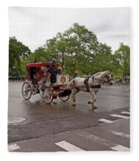 Carriage Ride In Central Park Fleece Blanket