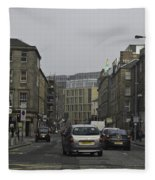 Cars And Buildings On The Streets Of Edinburgh Fleece Blanket
