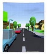 Cars Driving Suburban Streets   Fleece Blanket